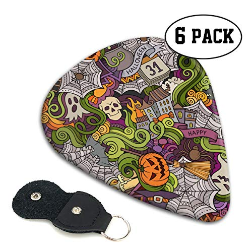 LXXTK Unique Halloween Cartoon Doodle Celluloid Guitar Pick 6 Pack - Music Gifts for Bass, Electric & Acoustic Guitars -