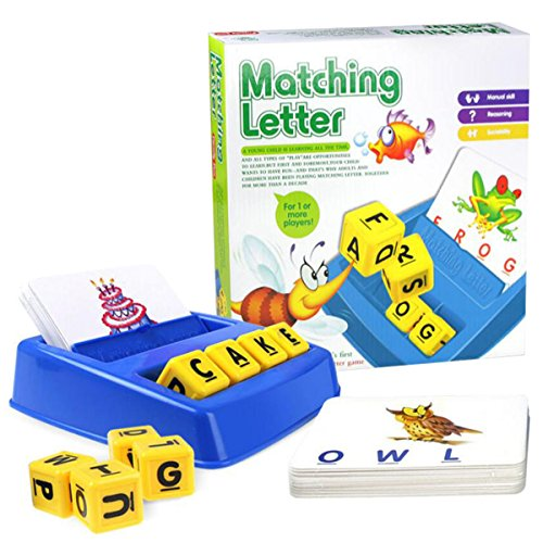 COLOOM Matching Letter Game Educational Spelling Puzzle Game of 3 and 4 Letter Words with Matching Images