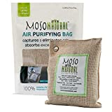 Moso Natural Air Purifying Bag. Bamboo Charcoal Air Freshener - Deodorizer - Odor Eliminator - Odor Absorber For Cars and Closets. 200g Natural Color