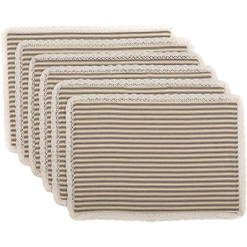 VHC Brands Farmhouse Tabletop & Kitchen - Kendra Stripe White Placemat Set of 6, Black