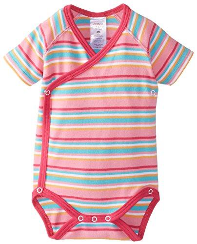 Zutano Baby-Girls Newborn Multi Stripe Short Sleeve Bodysuit, Hot Pink, Newborn/Preemie