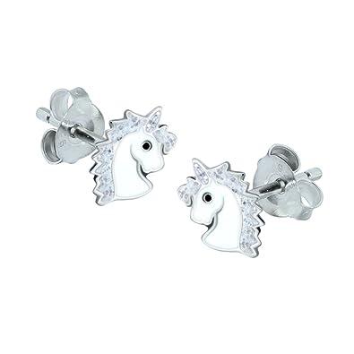 53b4e2848 Sterling Silver Unicorn Earrings - Silver Sparkle Gift: Amazon.co.uk:  Jewellery