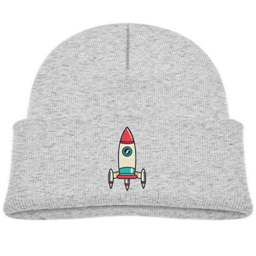 Kids Knitted Beanies Hat Rocket Ship Space Winter Hat Knitted Skull Cap Boys Girls Gray
