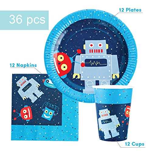 Robot Party Supplies Set for 12 - Includes 36 pcs Total: 12 Cups, 12 Plates, 12 - Robot Supplies