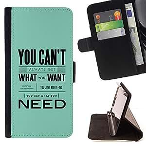 BullDog Case - FOR/HTC One M7 / - / need what want blue baby text inspiring /- Monedero de cuero de la PU Llevar cubierta de la caja con el ID Credit Card Slots Flip funda de cuer