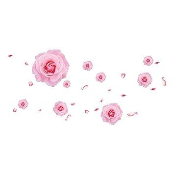 Amazon.com: SODIAL(R) 3D Roze rozen bloemen muurstickers voor ...