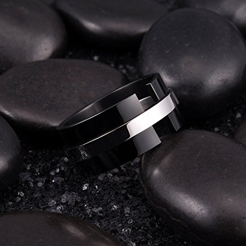 King Will TIME 11mm Black and White Mens Stainless Steel Wedding Band Ring Matte Finished 12.5 by King Will (Image #2)