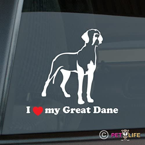 Mister Petlife I Love My Great Dane Sticker Vinyl Auto Window German Mastiff v2