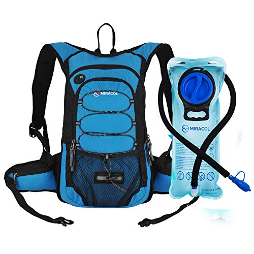 MIRACOL Hydration Backpack with 2L Water Bladder, Thermal Insulation Pack Keeps Liquid Cool up to 4 Hours, Prefect Outdoor Gear for Skiing, Running, Hiking, Cycling (Blue (New))