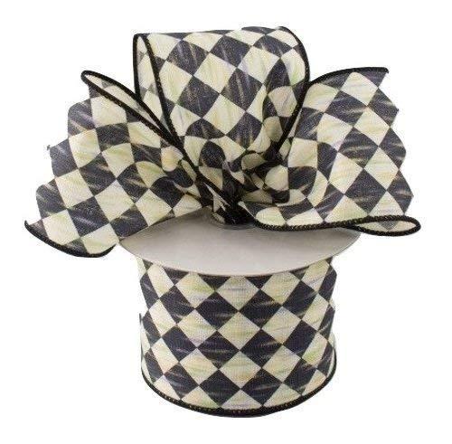Black and Cream Harlequin Diamond Check Pattern Farmhouse Wired Ribbon 2.5