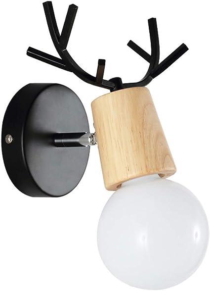 Timagebreze Lampada da Parete Antler Nordico Semplice Soggiorno Camera da Letto Comodino Scale Corridoio Camera per Bambini Lampada da Parete con Testa di Cervo