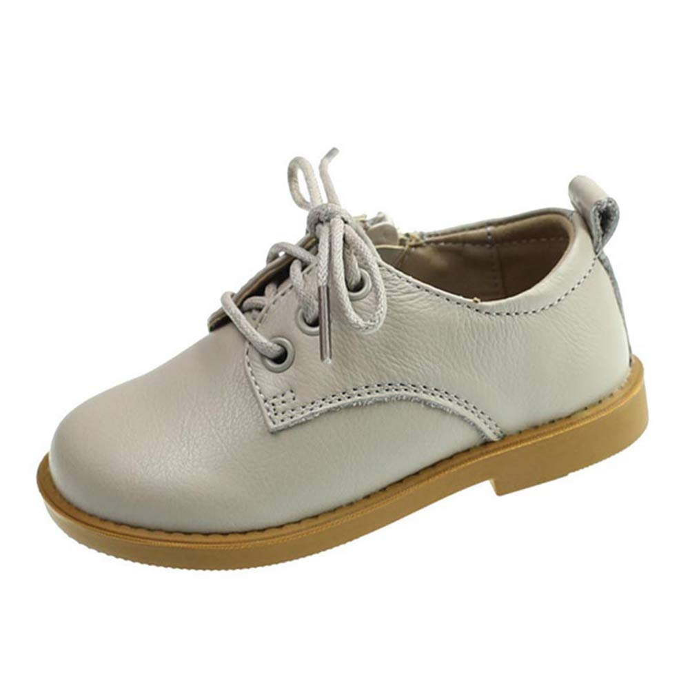 F-OXMY Toddler Boys Side Zip Lace-up Oxfords Dress Shoes Comfort Non-Slip Outdoor Walking Casual Shoes Beige
