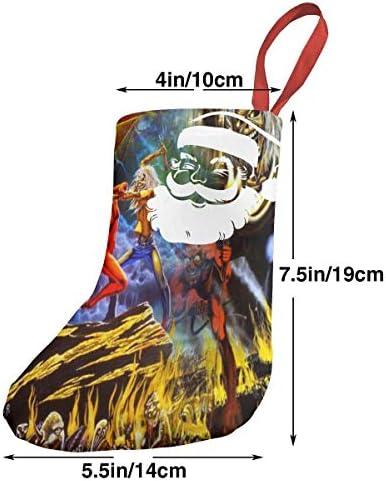 クリスマスの日の靴下 (ソックス3個)クリスマスデコレーションソックス アイアンメイデンIron Maiden クリスマス、ハロウィン 家庭用、ショッピングモール用、お祝いの雰囲気を加える 人気を高める、販売、プロモーション、年次式