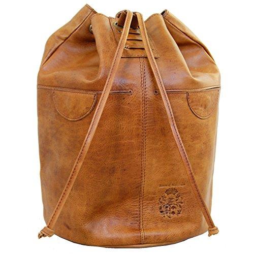 BARON of MALTZAHN City Rucksack VERNE aus braunem Rodeo Leder inkl. Lederpflege