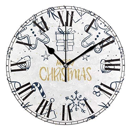 (CANCAKA Pretty Christmas Gingerbread Man Round Acrylic Premium Wall Clock Silent Non Ticking Decorative Clock Art Home Office)