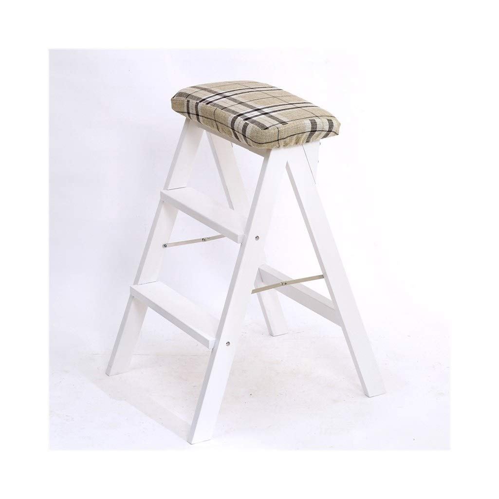 A  3 AIDELAI Bar Stool Chair- Solid Wood Creative Folding Stool Simple Folding Stool Kitchen Stool Portable Stool Folding Home Stool High Stool (42  49  63cm) Saddle Seat (color   A, Size    3)