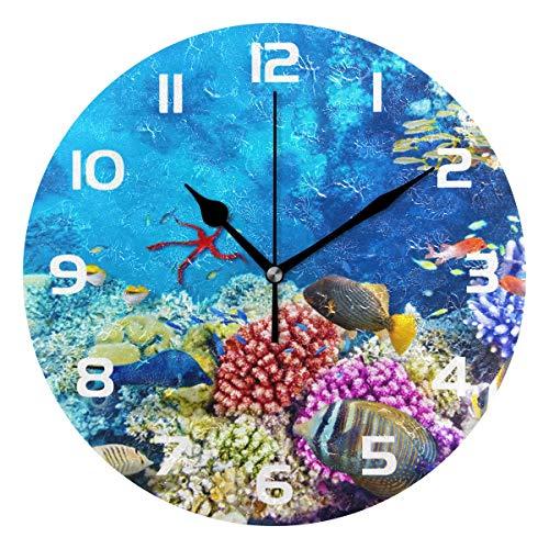 TropicalLife Ocean Underwater World Fish Decorative Wall Clock Acrylic Round Clocks Non Ticking Art Decor Bedroom Living Room Kitchen Bathroom Office ()