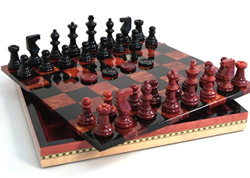 Red and Black Alabaster Chess and Checker in Inlaid Wood Chest