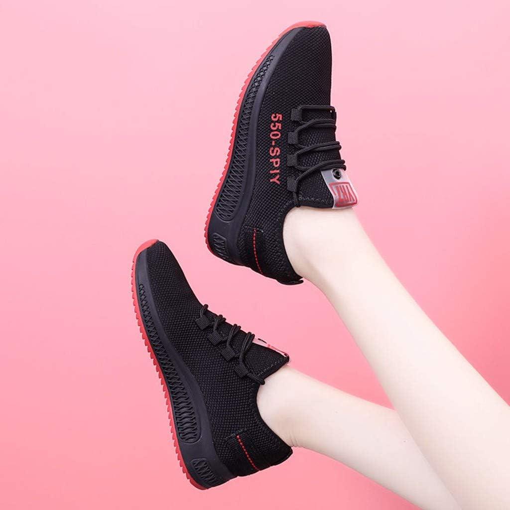Chaussures Pas Cher Femme Chaussures De Sport Running Gym Fitness Mesh Respirant Confortables LéGèRes A Lacets DéContractéEs Sneakers Rouge