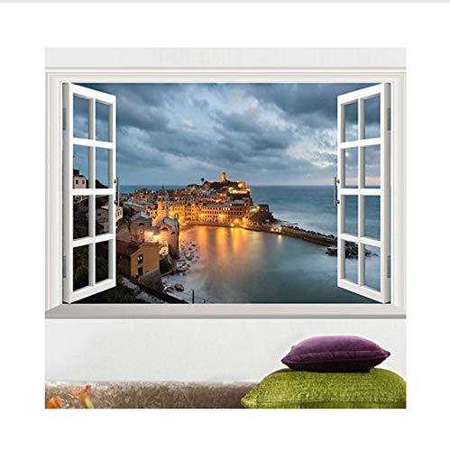 Seaside Castle - hwhz Window View Scenery Wall Sticker Seaside Castle Sticker Scenery Removable Wall Stickers Wall Decals PVC Home Decor Wallpaper Size:60 X 40 cm