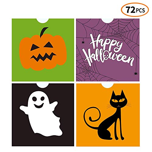 iFUNow 72 Pack Halloween Bags Bulk for Halloween Goodie Bags, Halloween Candy Bags, Halloween Treat Bags, Halloween Trick or Treat Bags, Halloween Party Favors Bags, Halloween Goody Bags ()