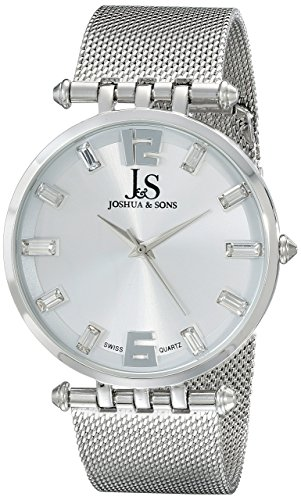 Joshua & Sons Men's JS90SS Silver Swiss Quartz Watch With Silver Dial and Silver Mesh Bracelet