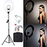 "Photo : CRAPHY 14"" Dimmable SMD LED Ring Light with Stand Kit 40W Bi-color 3200k-5500k, included Cosmetic Mirror for Photo Portrait Photography Camera, Smartphone, Make Up, Youtube Video Shooting"