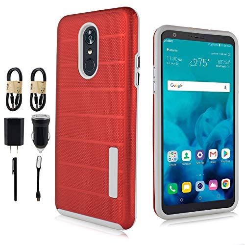 LG Stylo 4 Case, LG Q Stylo Case, [Light Slim Cover] Slim Protective Shockproof Cover for LG Stylo 4 Plus, LG Stylus 4 [Value Bundle] (Red) ()