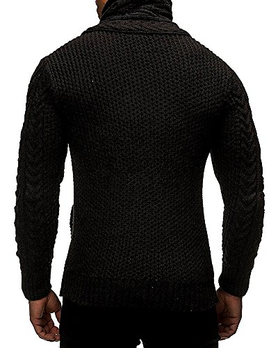 BBalizko Mens Cashmere Turtleneck Cable Knit Cardigan Sweater ...