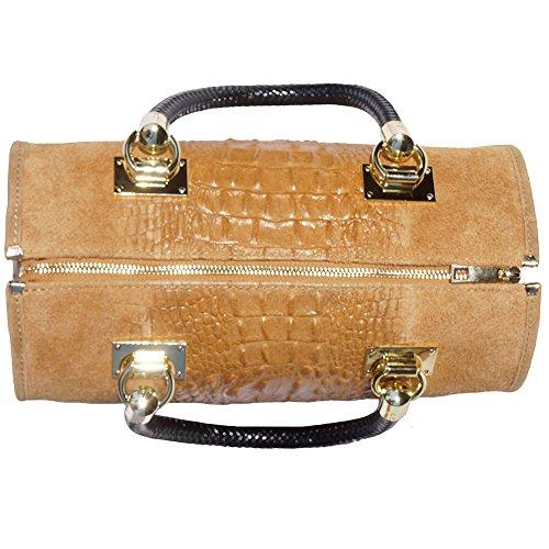 pelle in Cuoio in Bauletto Borse e in gli scamosciato colore Mano a oro accessori Emma 7002 Borsa con pelle gcxyFTPwUZ