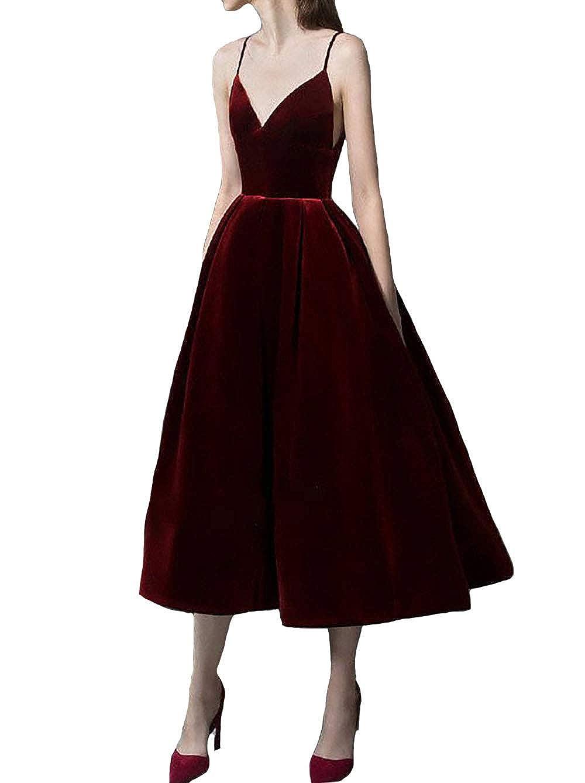 Burgundy IVYPRECIOUS Women's V Neck Tea Length Velvet Prom Dresses A Line Evening Dress