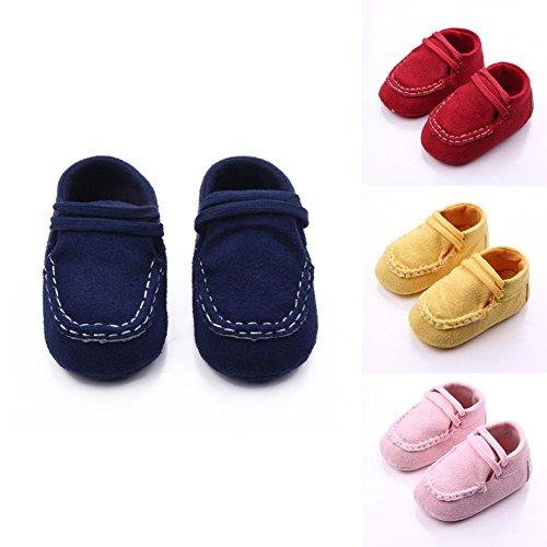 exiu newbron bebé niño Niña algodón Tejido suave suela zapatos primera Walkers calzado azul azul oscuro Talla:6-9 months/Tag 12 rosa