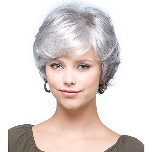 QianBaiHui Women Short White Wigs Synthetic Hair Fashion silver Grey Mother wigs (Grey Hair Wig Synthetic)