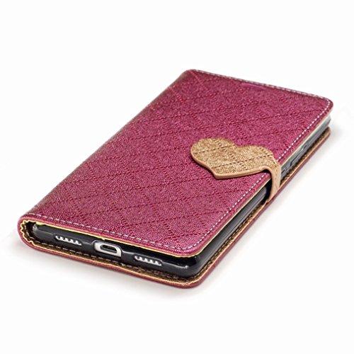 Yiizy Huawei P9 Lite Custodia Cover, Amare Design Sottile Flip Portafoglio PU Pelle Cuoio Copertura Shell Case Slot Schede Cavalletto Stile Libro Bumper Protettivo Borsa (Rosso)