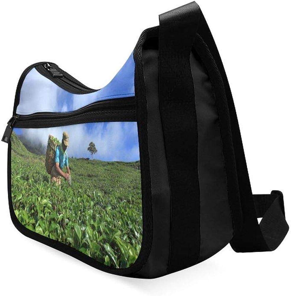 Women Pick In Tea Leaves Messenger Bag Crossbody Bag Large Durable Shoulder School Or Business Bag Oxford Fabric For Mens Womens