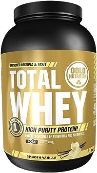 Goldnutrition Total Whey Proteina 1kg, Vainilla, Aumenta y Conserva Músculos