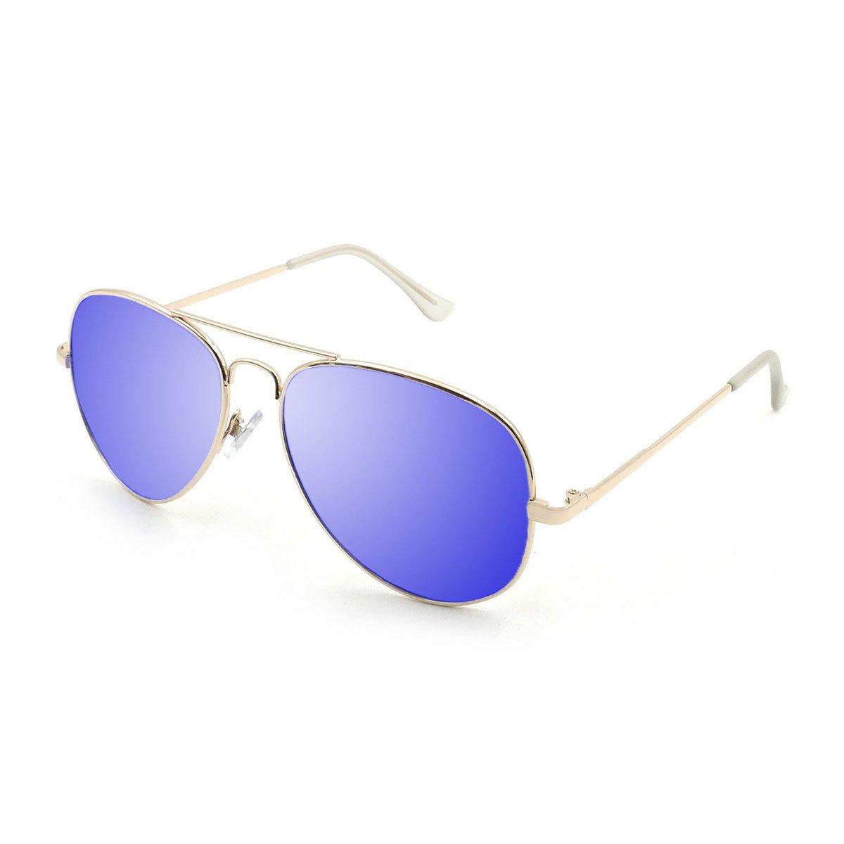 OCEAN SUNGLASSES Banila aviator - lunettes de soleil en MÃBlackrolltal - Monture : DorÃBlackroll - Verres : Revo Bleu (3701.2) Sss37K