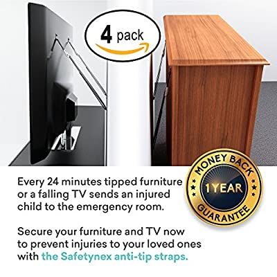 TV and Furniture Anti Tip Safety Straps Heavy Duty All Metal Parts, Baby Proofing Dresser Anchoring Kit, 4 Pack