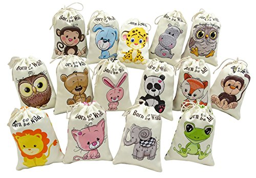 Darling Souvenir 15 x Born To Be Wild Favor Bags Jungle Animal Theme Birthday Party Thank You Drawstring Pouches by Darling Souvenir