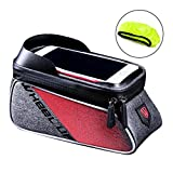 WATERFLY Bicycle Frame Bag Bike Front Tube Handlebar Bag Cycling Pack with Touch Screen Phone Case for iPhone X/8/7 plus/7/6s/6 plus/5s