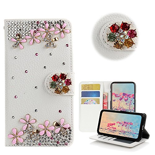 STENES Google Pixel Case - Stylish - 3D Handmade Bling Crystal Flowers Flowers Desgin Wallet Credit Card Slots Fold Media Stand Leather Case for Google Pixel - Pink