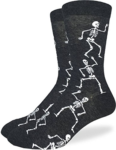 Good Luck Sock Men's Halloween Skeleton Socks - Black, Adult Shoe Size 7-12