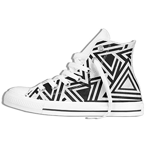 FAIRY Classic Lace Up High Top Canvas Shoes Black Triangle Sneaker For Men Women