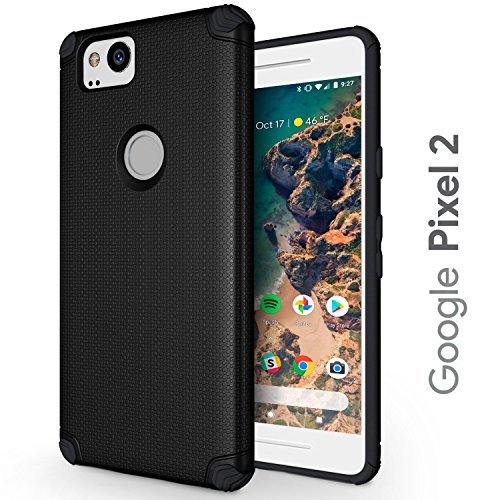 Google Pixel 2 XL Case - Slim & Flexible - Durable TPU Phone Cover with Shockproof Corner Cushions - Pixel 2XL Protective Case - Compatible with Magnetic Car Holder - Black (Google Pixel 2)