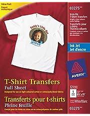 Avery T-Shirt Transfers, For Use on Light Fabrics, Inkjet Printers, 12 Full-Sheet Paper Transfers (03275), White (packaging may vary)