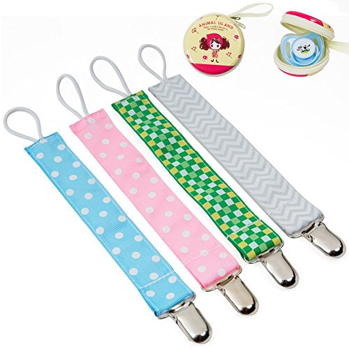 Baby Pacifier Clip Holder + Pacifier Case - 4 Pack Unisex Teething Clips Pacifier Teething Holder Leash for Boys and Girls,Teething Toy and Soothie by Lavince