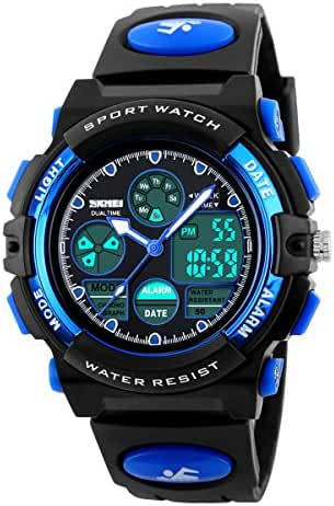 Boys Sports Watch Digital Waterproof Dual Time Wrist Watch Chrono Alarm EL Light Blue