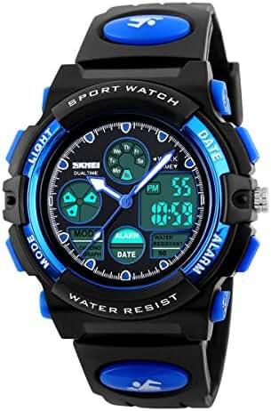Boys Sports Watch Digital Waterproof Dual Time Wrist Watch Chrono Alarm EL Light Blue