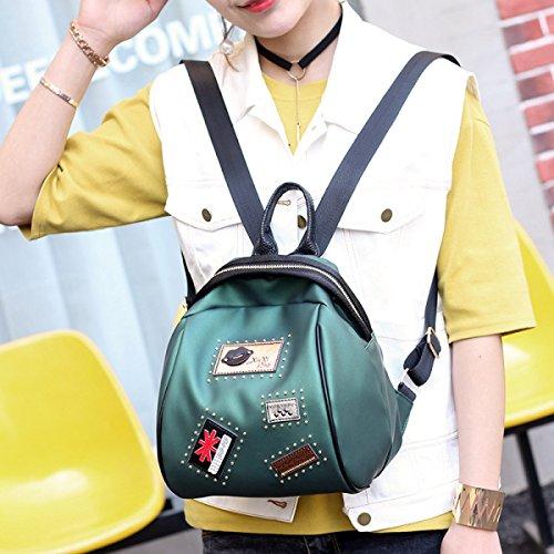 Moda Mujer Mini PU Mochila De Cuero Bolso De Las Señoras Shoping Mochila Bolso De Viaje Para Las Niñas,Red-22*18*28cm Green