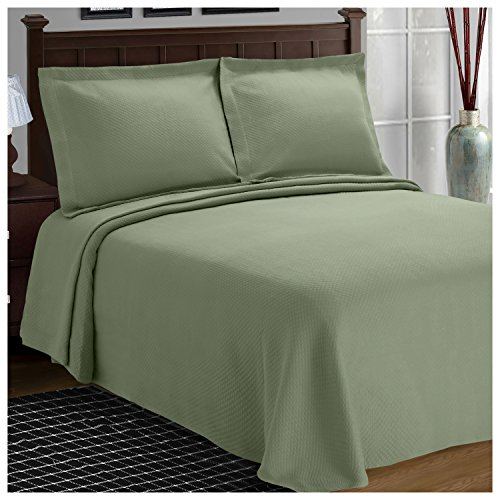 Superior Diamond Solitaire Jacquard Matelassé 100% Premium Cotton Bedspread with Matching Shams, Full, Sage